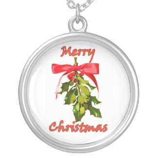 merry christmas mistletoe silver plated necklace