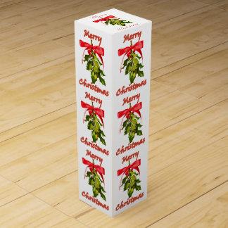merry christmas mistletoe wine box