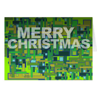 Merry Christmas Modern Card Pattern Square Green