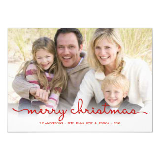 Merry Christmas Modern Hand Script Flat Photo Card
