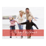 MERRY CHRISTMAS MODERN RED HOLIDAY PHOTO CARD POSTCARD