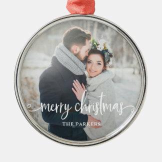 Merry Christmas | Modern Rustic Photo Christmas Ornament