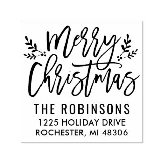 Merry Christmas | Modern Script Address Self-inking Stamp