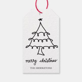 Merry Christmas Modern Script Christmas Tree Gift Tags