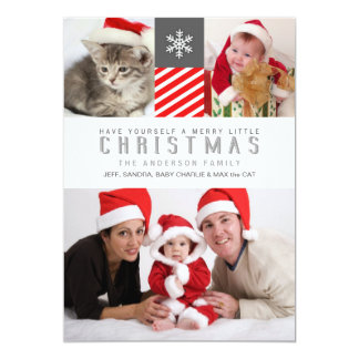 Merry Christmas Modern Stripes Holiday Photo Cards 13 Cm X 18 Cm Invitation Card