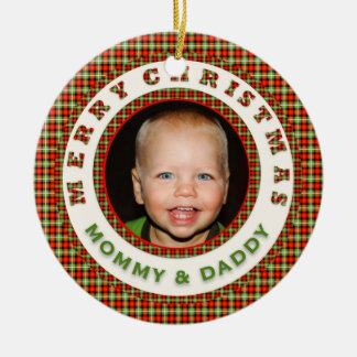 Merry Christmas Mommy and Daddy Custom Photo Dated Round Ceramic Decoration