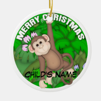 Merry Christmas Monkey Christmas Ornament