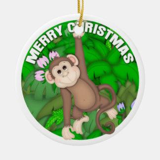 Merry Christmas Monkey Round Ceramic Decoration