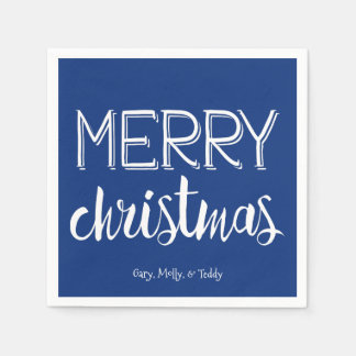 Merry Christmas Monogram Holiday Napkin Disposable Napkin