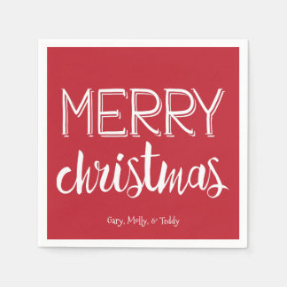 Merry Christmas Monogram Holiday Napkin Disposable Serviette