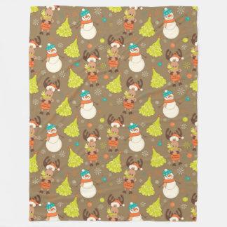 Merry Christmas Moose And Snowman Fleece Blanket