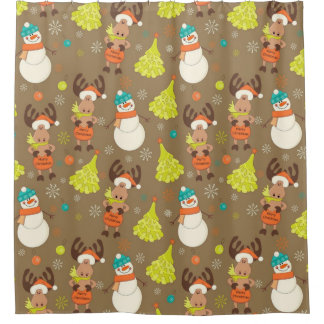 Merry Christmas Moose And Snowman Shower Curtain