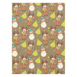 Merry Christmas Moose And Snowman Tablecloth