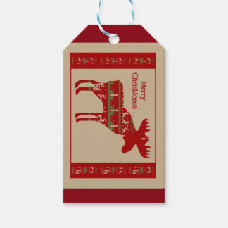 Merry Christmas Moose in Christmas Sweater Animal Gift Tags