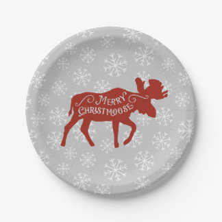 Merry Christmas Moose with Snowflakes Paper Plate