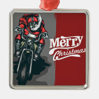 Merry Christmas Motorcycle Santa Ornament