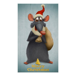 Merry Christmas Mouse Poster