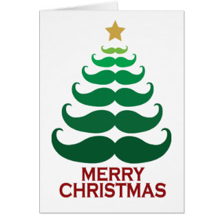 Merry Christmas Moustache Tree Card