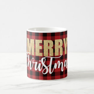 Merry Christmas Mug on Plaid Background