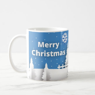 Merry Christmas mug with snow background
