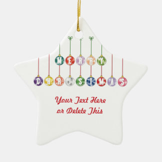 Merry Christmas Multicolored Glass Ball Ornaments