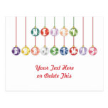 Merry Christmas Multicolored Glass Ball Ornaments Post Card