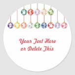 Merry Christmas Multicolored Glass Ball Ornaments Round Sticker