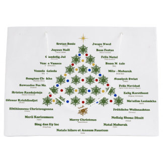 Merry Christmas - Multiple Languages Large Gift Bag