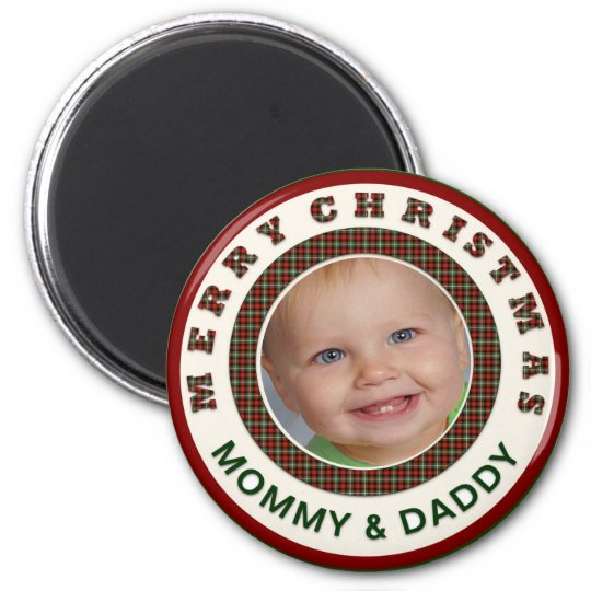 Merry Christmas Mummy and Daddy Custom Photo Magnet