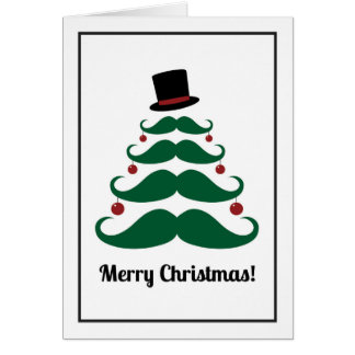 Merry Christmas Mustache Tree Holiday Card
