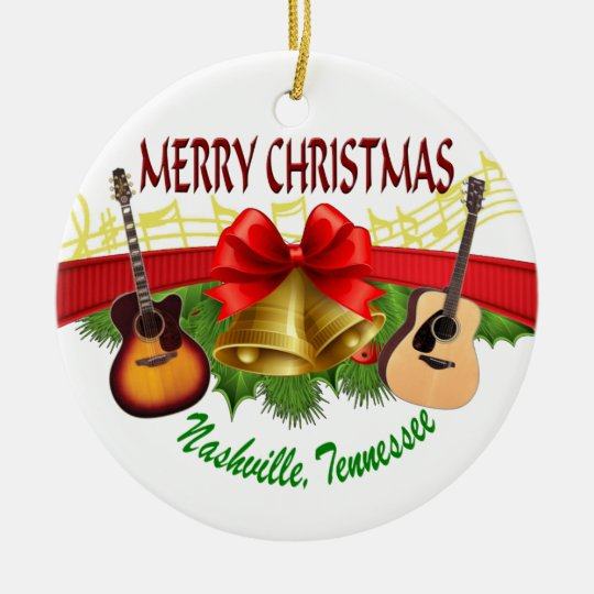 Merry Christmas Nashville Round Ornament