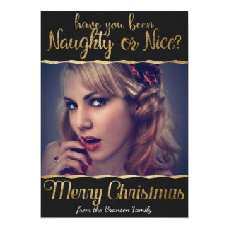 Merry Christmas Naughty or Nice Gold Photo 13 Cm X 18 Cm Invitation Card