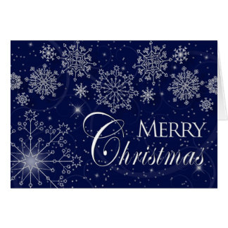 MERRY CHRISTMAS -  NAVY BLUE - SNOWFLAKES GREETING CARD