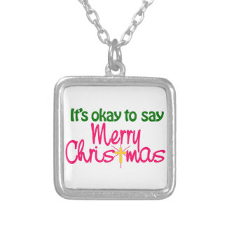 Merry Christmas Square Pendant Necklace