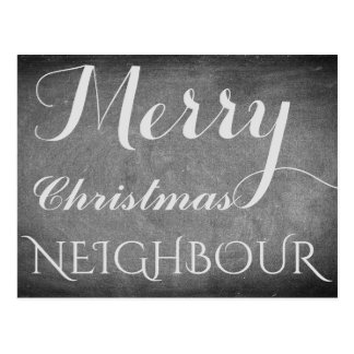 Merry Christmas Neighbour Chalkboard Typography Postcard