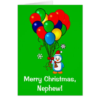 Merry Christmas Nephew Penguin with Balloons Greeting Card