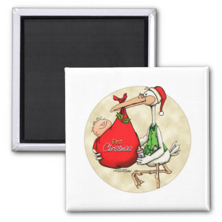 Merry Christmas - New Baby Square Magnet