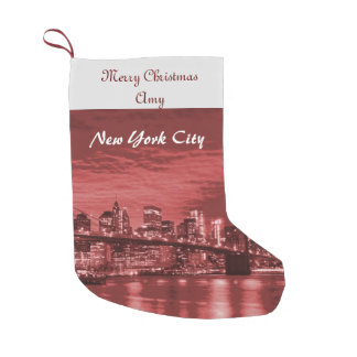 Merry Christmas New York City Skyline Small Christmas Stocking