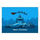 Merry Christmas New York Santa Claus Snow Liberty Greeting Cards
