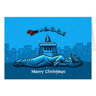 Merry Christmas New York Santa Claus Snow Liberty Card