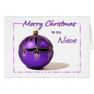 Merry Christmas Niece Purple Ball Card