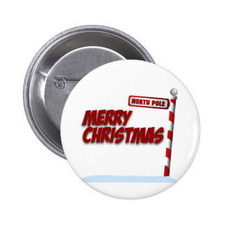 Merry Christmas Northpole Button