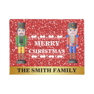 Merry Christmas Nutcrackers Red Gold Welcome Doormat