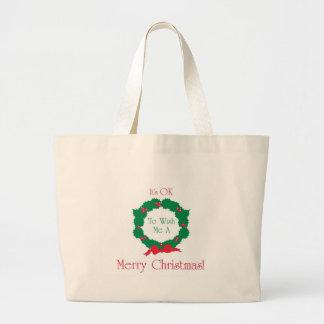 Merry Christmas OK! Large Tote Bag