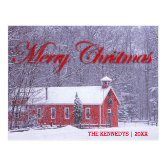 Merry Christmas - Old red schoolhouse in snowfall Postcard