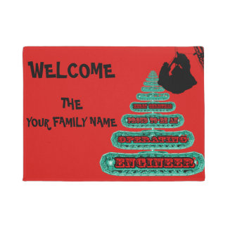 MERRY CHRISTMAS OPERATING ENGINEER CRANE OPERATOR DOORMAT