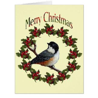 Merry Christmas Original Art Wreath Chickadee Cards