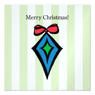 Merry Christmas Ornament 5.25 x 5.25 Pearl Shimmer 13 Cm X 13 Cm Square Invitation Card