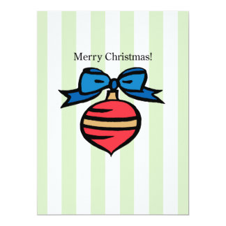 Merry Christmas Ornament 6.5 X 8.75 Invite Green