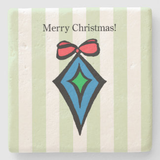 Merry Christmas Ornament Limestone Coaster